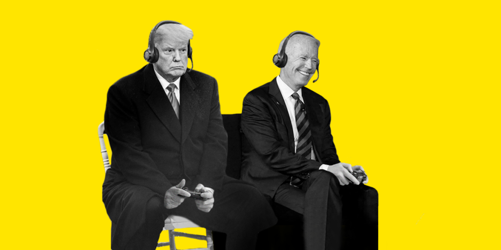 Joe Biden and Donald Trump playing video games together. Donald Trump is losing.